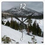 Snowy Ellery Lake California Winter Photography Square Wall Clock