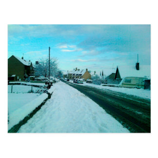 Snowy English Village Postcard