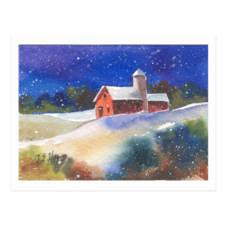 Snowy Evening Barns Postcard