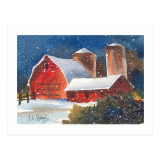 Snowy Evening Barns & Silos Postcard