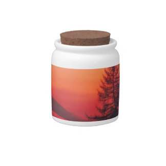 Snowy Evening Sunset Candy Jar