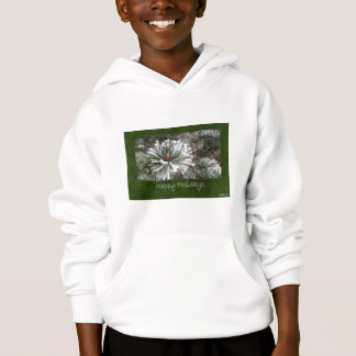 Snowy Evergreen Branches Close - Happy Holidays Hoodie