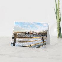 Snowy Farmland Holiday Card