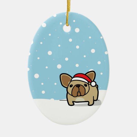 Snowy Fawn Frenchie Ceramic Ornament