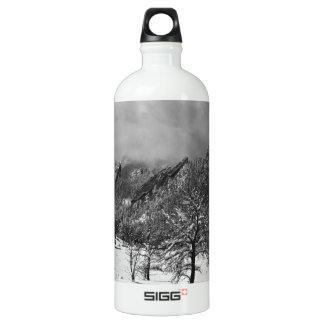 Snowy Flatirons Boulder Colorado Landscape View BW Water Bottle