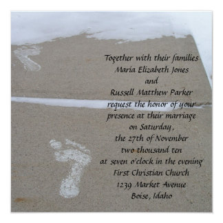 Snowy Footprints Wedding Card