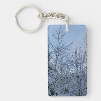 Snowy forest keychain