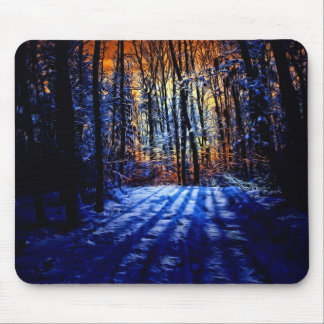 Snowy forest mouse pad