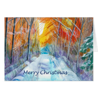 Snowy Forest Road Greeting Card