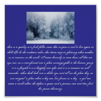 snowy forest, there is a quality to a fresh fal... poster