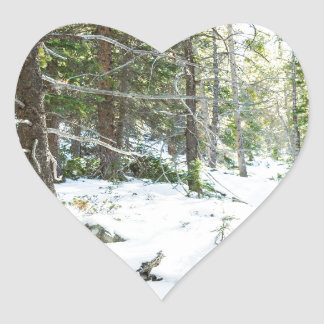 Snowy Forest Wilderness Playground Heart Sticker