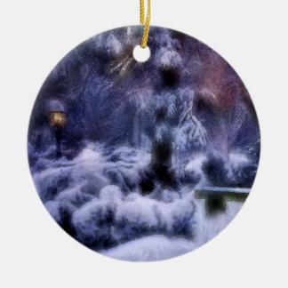 Snowy Forest Winter Wonderland Ceramic Ornament