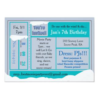 Snowy Frozen Birthday Movie Tix Invitation