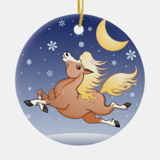 Snowy Gallop under the Moon Ornament
