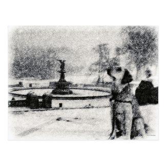 """Snowy Golden by Bethesda Fountain"" Central Park Postcard"