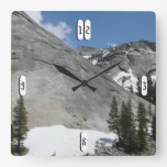 Snowy Granite Domes I at Yosemite National Park Square Wall Clock