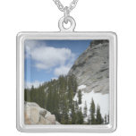Snowy Granite Domes II Yosemite National Park Silver Plated Necklace