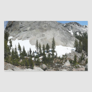 Snowy Granite Domes in Yosemite Rectangular Sticker