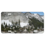 Snowy Granite Domes Panorama at Yosemite License Plate