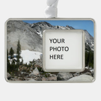 Snowy Granite Domes Panorama at Yosemite Silver Plated Framed Ornament