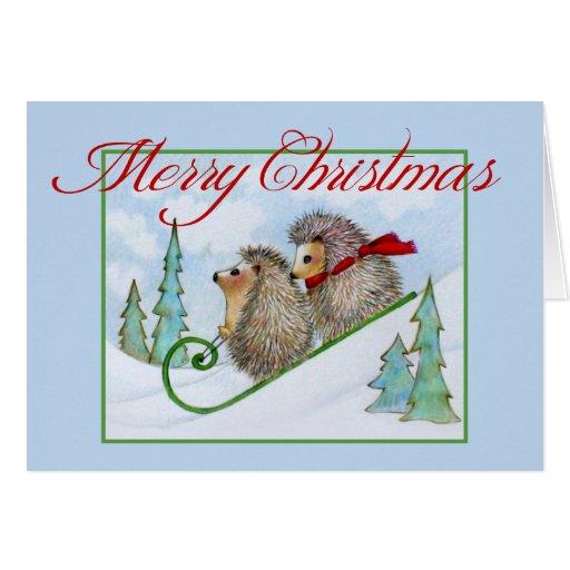 Snowy Hedgehog Sled Christmas Card