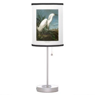 Snowy Heron White Egret Audubon Birds of America Desk Lamp