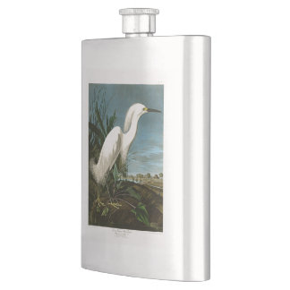Snowy Heron White Egret Audubon Birds of America Flask