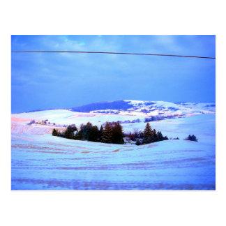 Snowy hills postcard