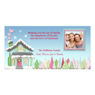 Snowy Holiday House Photo Card
