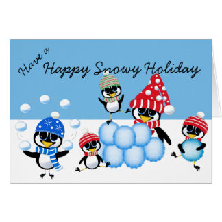 Snowy Holiday Penguins Throwing Snowballs Card