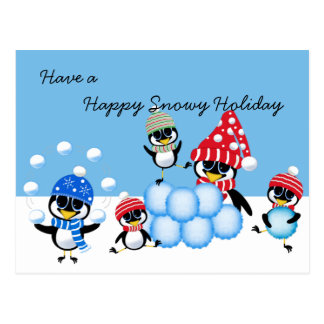 Snowy Holiday Penguins Throwing Snowballs Postcard