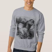Snowy - Horned Owls Vintage Wood Engraving Sweatshirt