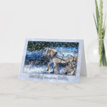Snowy Horse Drawn Carriage Christmas Holiday Card
