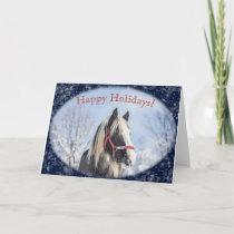 Snowy Horse Winter Scene Holiday Card