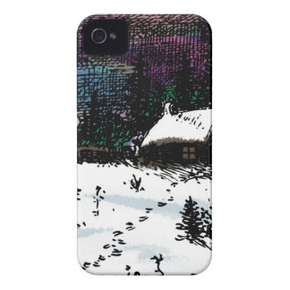 Snowy House Christmas Time Scene iPhone 4 Case-Mate Case