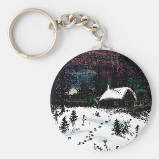 Snowy House Christmas Time Scene Keychain