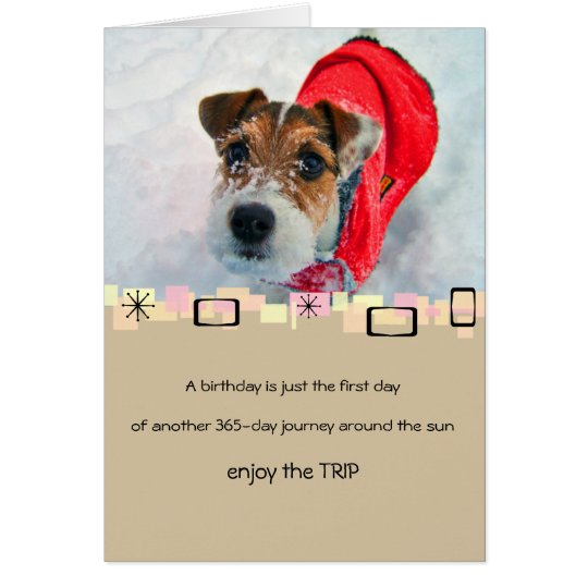 Snowy Jack Russell Terrier Birthday Greeting Card