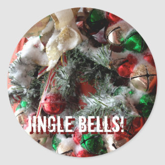 Snowy Jingle Bells and Merry Christmas! Classic Round Sticker