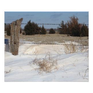 Snowy Kansas Fence Line Photograph