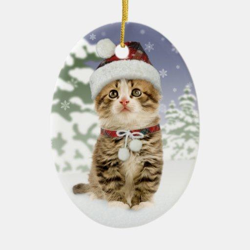 Snowy Kitten  Christmas Ornament