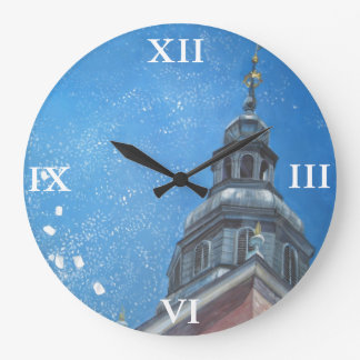 Snowy Krakow Large Clock