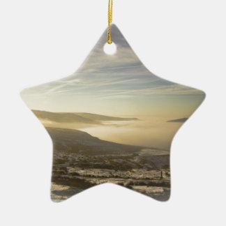 Snowy lake ceramic ornament