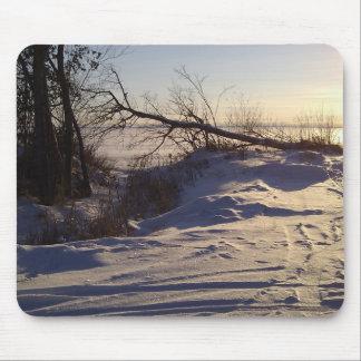Snowy Lake View Mouse Pad