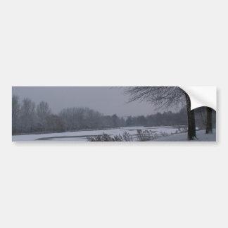 Snowy lakeside bumper sticker