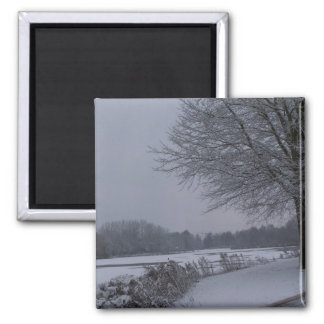 Snowy lakeside 2 inch square magnet