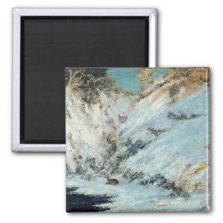 Snowy Landscape, 1866 2 Inch Square Magnet