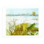 Snowy Landscape Arles Background Van Gogh Fine Art Postcard