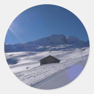 snowy landscape classic round sticker