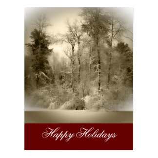 Snowy Landscape Holiday Greeting Postcard