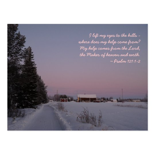snowy landscape with a bible verse postcard